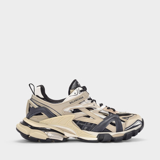 Balenciaga Track.2 Trainers In Beige And Black Mesh And Nylon