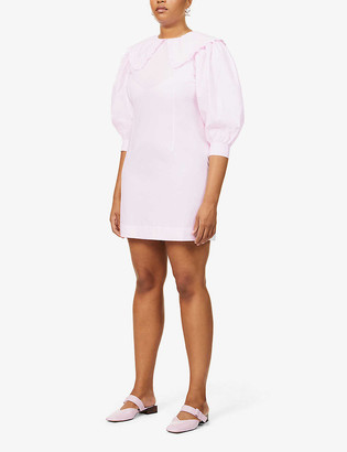 Ganni Peter Pan-collar organic cotton-poplin mini dress