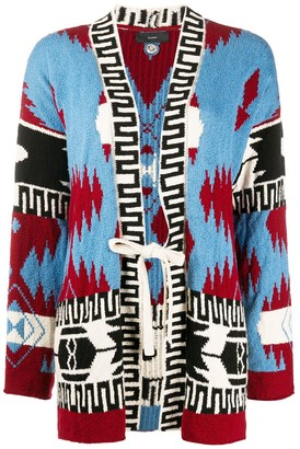 Alanui Patterned Intarsia Tie-Waist Cardigan