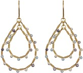 Candela 18K Yellow Gold Plated Sterling Silver Blue Hue Stone Double Teardrop Dangle Earrings