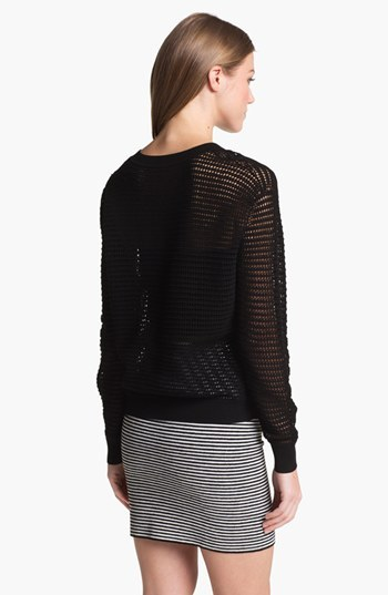 Theory 'Hannalor' Crewneck Sheer Sweater Black Large