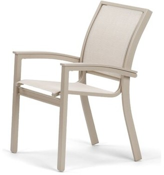 Telescope Casual Bazza Stacking Patio Dining Chair Telescope Casual Frame Finish: Gloss White, Fabric: Red 1D, Arm Accent Finish: Mango PM0