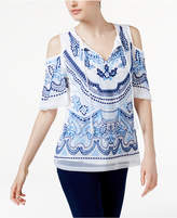 INC International Concepts Petite Embroidered Cold-Shoulder Top, Created for Macy's