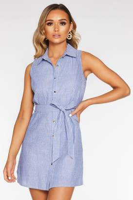 Quiz Blue And White Cotton Sleeveless Button Front Dress