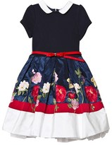MonnaLisa Navy Embroidered Flower Taffeta and Tulle Dress