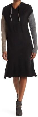 Stitchdrop Paneled Side Slit Midi Hooded Dress