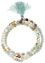 "Women's Silver Plated Light Amazonite 4Mm Bead Wrap Bracelet - Silver (21"")"