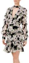 Nicholas Luna Floral Tie Neck Ruffle Mini Dress
