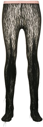 Gucci Fringed Floral Lace Tights