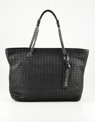Ermanno Scervino Black Woven Leather Tote Bag w/Chain Handles