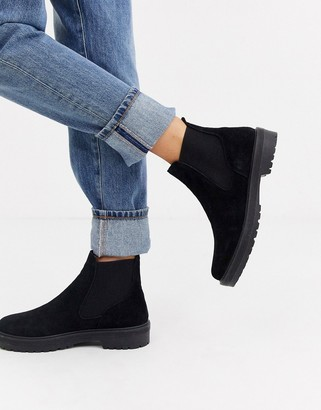 Office Archie black suede flat chelsea ankle boots
