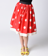 Unique Vintage 1950s Red & Ivory Polka Dot High Waist Circle Swing Skirt
