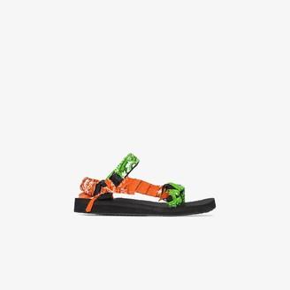 Arizona Love Green And Orange Bandana Knotted Flat Sandals
