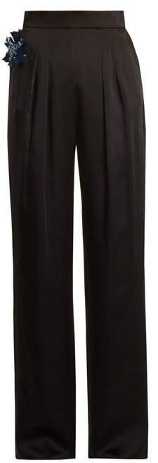 Christopher Kane - Embellished Flower Satin Trousers - Womens - Black