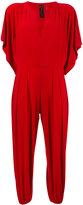 Norma Kamali elasticated cuffs cropped jumpsuit - women - Polyester/Spandex/Elastane - L