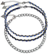 GUESS Silver-Tone 3-Pc. Set Imitation Leather Choker Necklaces