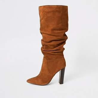 River Island Dark orange suede heeled slouch boots