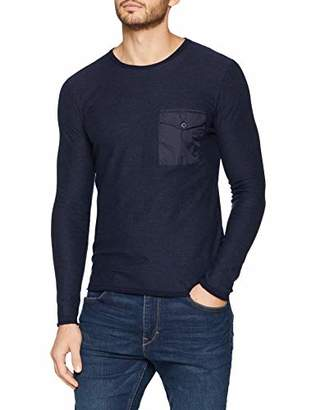 Trussardi Jeans Men's Round Neck Dyed with Poket Pure Cotton Slim Fit Jumper,L