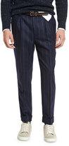Brunello Cucinelli Chalk-Stripe Single-Pleat Leisure Pants, Navy