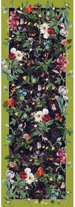 Pj Studio Accessories. Fleurs d'Orleans - Aubergine & Lime Green Wool Silk