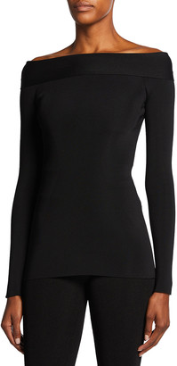 Victoria Beckham Bardot Off-the-Shoulder Compact Shine Top