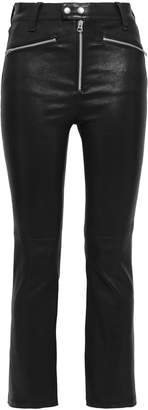 Rag & Bone Braxton Cropped Zip-detailed Leather Slim-leg Pants