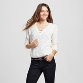 Mossimo Women's Lace Up Pullover Cream