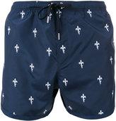 Neil Barrett Fleur-de-Thunder print swim shorts