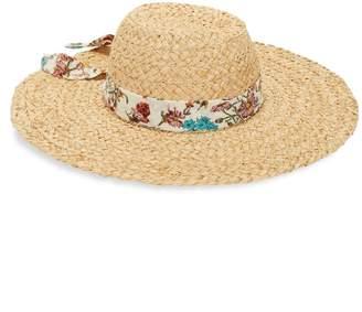 Bindya Lulla Collection By Floral Band Raffia Straw Sun Hat
