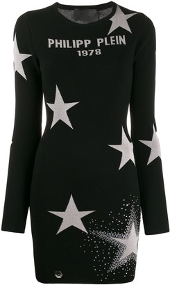 Philipp Plein logo star print jumper dress