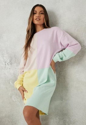 Missguided Tall Lilac Color Block Oversized Sweater Dress