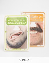 Gifts Brainbox Candy Moustache & Beard Face Mat Birthday Cards In 2 Pack