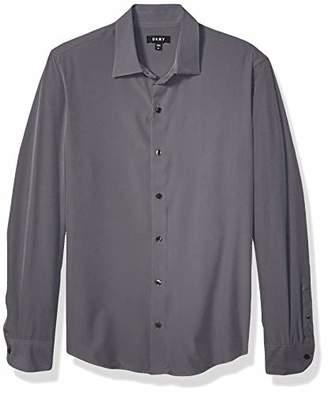 DKNY Men's Solid Long Sleeve Tech Button Down Shirt