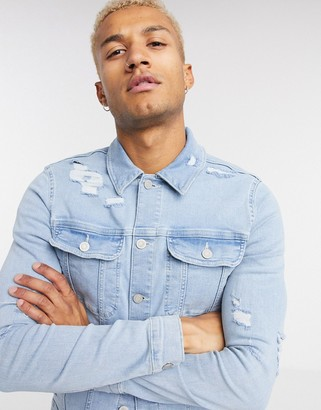 ASOS DESIGN skinny denim jacket in bleach wash blue with rips