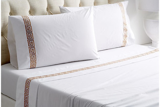 Hamburg House Greek Key Sheet Set - White/Tan