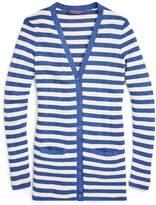 Ralph Lauren Striped Silk V-Neck Cardigan