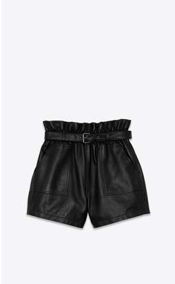 Saint Laurent Belted Shorts With Gathered Waist In Lambskin
