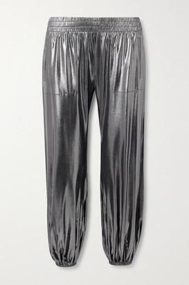 Norma Kamali Metallic Stretch-jersey Track Pants