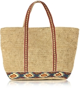 Vanessa Bruno Medium Raffia Cabas Tote Bag w/Maya Embroidered Band
