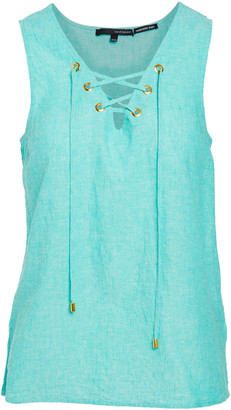 Harve Benard Women's Tunics Aqua - Aqua Green Lace-Up Sleeveless Top - Women