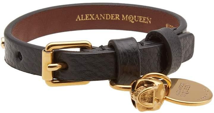 Alexander McQueen Studded Leather Skull Bracelet