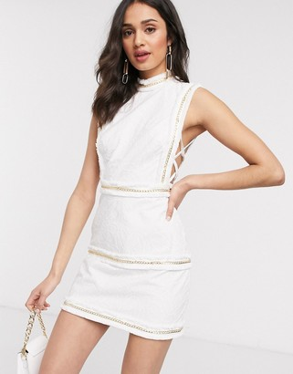 ASOS DESIGN embroidered mini dress with fringe and chain detail in Cream