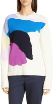 St. John Abstract Floral Intarsia Wool & Silk Sweater