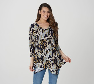 Women With Control Attitudes by Renee Petite Como Jersey Top with Front Slits