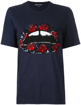 Markus Lupfer sequin lip rose patch T-shirt - women - Cotton - XS