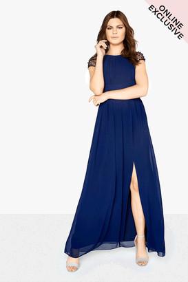 Little Mistress Navy Chiffon Maxi Dress