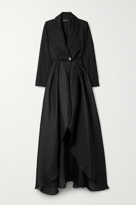 Brandon Maxwell Pleated Wool-twill And Silk-organza Coat - Black