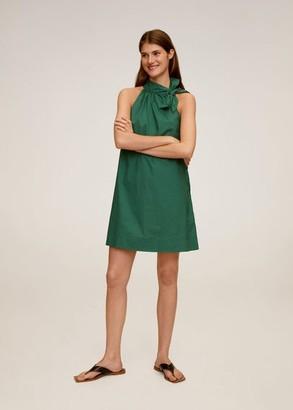 MANGO Bow neck dress dark green - 2 - Women