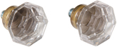 Rejuvenation Pair of Glass and Brass Octagonal Knobs c1900