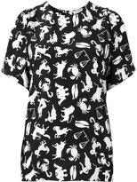 Saint Laurent horoscope print blouse - women - Silk - 36